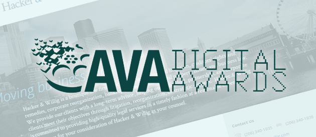 Seattle Web Design Company wins AVA Honorable Mention Award for Law Firm Website, Hacker & Willig