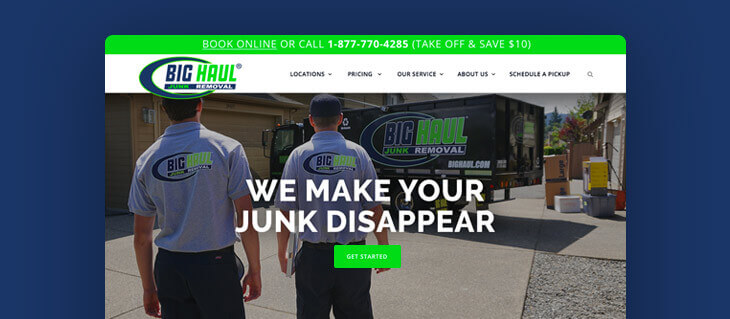 efelle creative Redesigns and Declutters Big Haul Junk Removal's Website