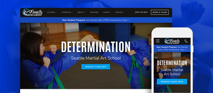 New Website for Seattle-Based Family Black Belt Academy Is Full of Kick