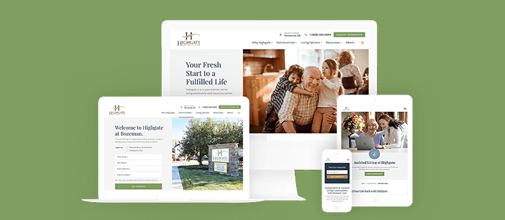Website Design For Senior Living Communities Highgate Efelle Creative Seattle Wa