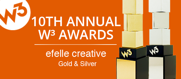 efelle creative Wins Gold (and Silver) in the 2015 W3 International Website Design Awards!