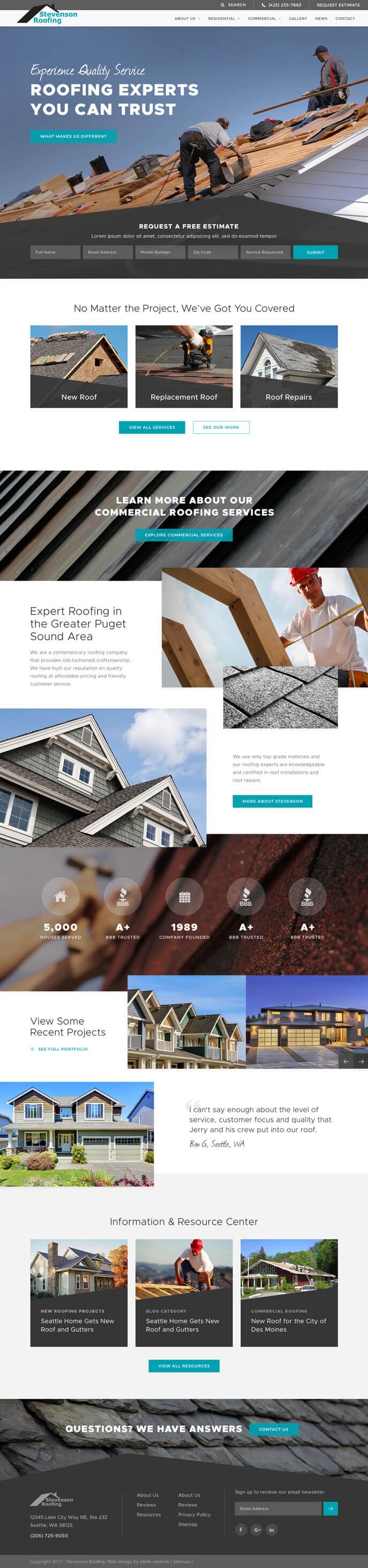 Stevenson Roofing Inc Efelle Creative Seattle Wa
