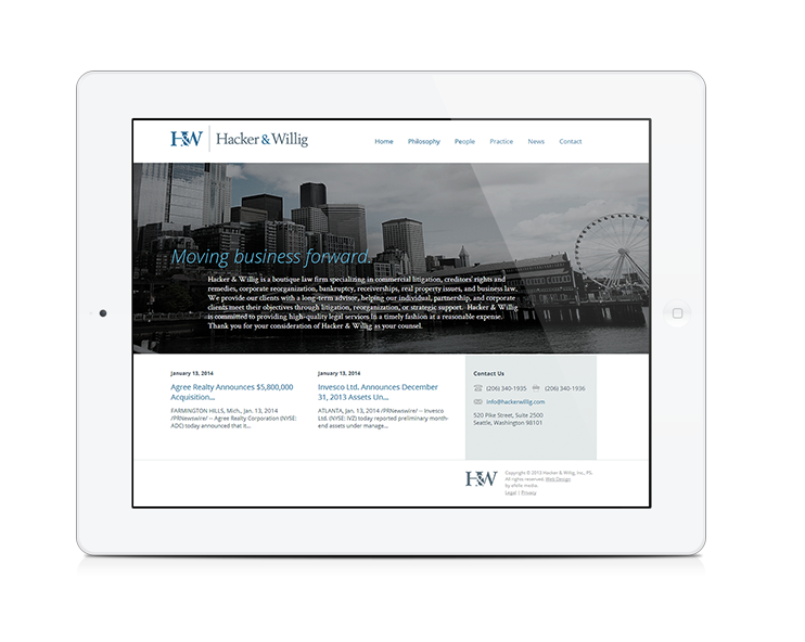 seattle web design company wins ava honorable mention award for law